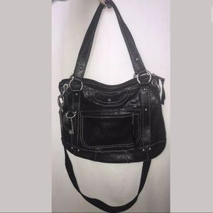 Fossil Black Leather Purse Shoulder And Crossbody